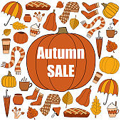 Autumn sale vector promotion square banner with pumpkin