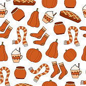 Happy fall seamless pattern with autumn cosy elements