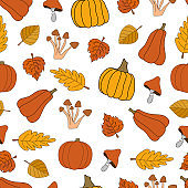 Autumn harvest vector seamless pattern on white background