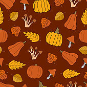 Autumn harvest vector seamless pattern on red background