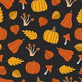 Autumn harvest vector seamless pattern on black background
