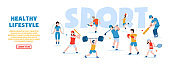 Vector concept of sports and healthy lifestyle. Fitness, golf, basketball, table tennis, boxing, baseball, cricket, tennis, bodybuilding. People in sports uniform go in for various sports.