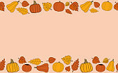 Happy fall vector autumn seamless pattern frame on begie background
