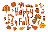 Happy fall autumn vector clipart with cosy elements
