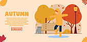Vector autumn concept. A girl dressed in a raincoat is jumping through the puddles in the autumn colorful park. Autumn entertainment. Can be used for website and web banner.