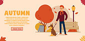 Vector autumn concept. A man in a beautiful autumn park walks his dog on a leash. Trash can, shop, lamp and trees from which leaves fall. Can be used for website and web banner.
