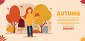 Vector autumn concept. A girl stands and holds a pumpkin and a bag with purchases in her hands. Autumn shopping. Can be used for website and web banner.