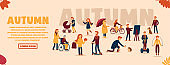 Vector autumn concept on isolated background. Autumn sports, mood inspiration. A girl rides a bicycle, a man feeds a hedgehog, a girl plays and jumps through puddles, a boy draws a picture. Web banner