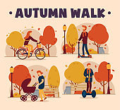 Vector concept of an autumn walk. A girl rides a bicycle, a man rides a scooter, a mother walks with a child and a stroller, a boy rides a segway. Autumn mood.