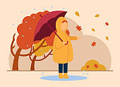 Vector autumn concept. A girl in a raincoat with an umbrella in her hands is standing in a puddle in the rain. Bad weather, strong wind, overflowing leaves. Can be used for website or web banner.