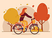 Vector autumn concept. The girl rides a bicycle in the autumn park. Falling multicolored leaves from trees. Autumn sports. Can be used on the website and web banner.