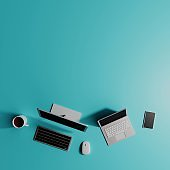 3D illustration at Top view on workspace