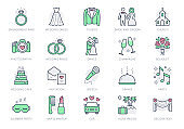 Wedding timeline line icons. Vector illustration include icon - bouquet, ring, bouquet, tuxedo, groom, bridal, invitation outline pictogram for marriage ceremony. Green and Red Color, Editable Stroke