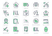 Veterinary line icons. Vector illustration include icon - stethoscope, grooming, , xray, ultrasound, vaccination, sterilization outline pictogram for vet clinic. Green Color, Editable Stroke