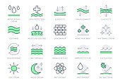 Cosmetic properties line icons. Vector illustration include icon - day cream, moisture, dermatology, soothing, collagen outline pictogram for skincare product. Green Color, Editable Stroke