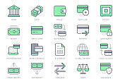Finance banking simple line icons. Vector illustration with minimal icon - wallet, bunch cash, credit card, safe, , online transfer, account protection pictogram. Green Color, Editable Stroke