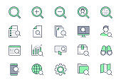 Search simple line icons. Vector illustration with minimal icon - analysis, spyglass lens, loupe, gear, hr, globe, magnifier, binoculars pictogram. Green Color, Editable Stroke