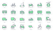 Transport side view simple line icons. Vector illustration with minimal icon - bike, tram, train, electric scooter, trolley, railway, motorbike, trailer, excavator. Green Color, Editable Stroke