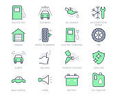 Transport car service simple line icons. Vector illustration with minimal icon - battery, air conditioner, garage, detailing, body works, horn, wash, oil canister. Green Color Editable Stroke