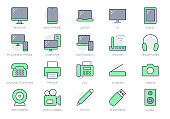 Computer devices simple line icons. Vector illustration with minimal icon - laptop, pc, smartphone, tv, monitor, tablet, fax, landline phone and office equipment. Green Color, Editable Stroke