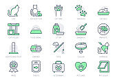 Cat stuff line icons. Vector illustration include icon - litter box, carrier, scratching post, bed, house, kitten, toy, meal outline pictogram for pet equip. Green Color, Editable Stroke