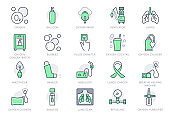 Oxygen line icons. Vector illustration included icon - anesthesia mask, ventilator, icu, artificial lung ventilation, nebulizer outline pictogram for hospital. Green Color Editable Stroke