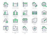 Real estate line icons. Vector illustration include icon - house, insurance, commercial, blueprint, townhouse, keys, shop, store outline pictogram for property agency Green Color, Editable Stroke