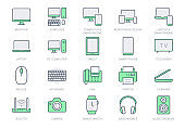 Technology line icons. Vector illustration include icon - computer, monitor, laptop, cellphone, router, fax, scanner, outline pictogram for electronic equipment. Green Color, Editable Stroke