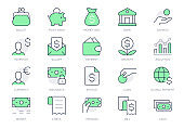 Finance savings simple line icons. Vector illustration with minimal icon - piggy bank, banknote bundle, wallet, investor person, cash, insurance, globe pictogram. Green Color, Editable Stroke