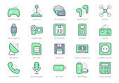 Electronic devices simple line icons. Vector illustration with minimal icon - joystick, controller, vr glasses, drone, camera, 3d printer, retro technology. Green Color. Editable Stroke