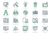 Graphic design line icons. Vector illustration included icon - digital creative tool, paintbrush, palette, prepress, presentation layout outline pictogram for art. 64x64 Green Color Editable Stroke