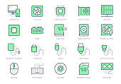 Electric component simple line icons. Vector illustration with minimal icon - chip, computer, cpu, gpu, ram, hard disk, mouse, keyboard, memory card hardware. Green Color. Editable Stroke