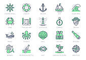 Marine line icons. Vector illustration included icon as anchor, sea wave, message in a bottle, rope, sailor, lighthouse, wheel, pirate outline pictogram of ocean. 64x64 Green Color Editable Stroke