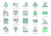 Rainwater harvesting line icons. Vector illustration include icon - osmotic filter, electrodialysis, evaporate, drop outline pictogram for water cleansing. Green Color, Editable Stroke