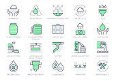 Rainwater harvesting line icons. Vector illustration include icon - barrel, stainless steel reservoir, liquid drainage outline pictogram for water recycling. Green Color, Editable Stroke