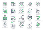 Antibiotic resistance line icons. Vector illustration include icon pills, bacteria, genetics, injection, immunization calendar outline pictogram for medication. Green Color, Editable Stroke