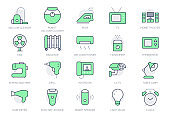 Electronic appliance simple line icons. Vector illustration with minimal icon - intercom, robot vacuum cleaner, security cctv, fan, radiator, split system. Green Color. Editable Stroke