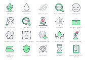 Cosmetic properties line icons. Vector illustration include icon - cream, collagen, anti aging effect, rosacea, wrinkle, outline pictogram for skincare product. Red and Green Color, Editable Stroke