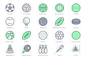 Sport balls line icons. Vector illustration with minimal icon - soccer, rugby, basketball, table tennis racquet, ice hockey puck, bowling, softball equipment. Green Color. Editable Stroke