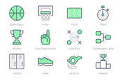 Basketball sport simple line icons. Vector illustration with minimal icon - court, whistle, goblet, foam finger, game strategy, podium, tournament grid pictogram. Green Color Editable Stroke