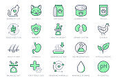Cat food line icons. Vector illustration include icon outline bag, can, weight scales, stomach, sand box, pouch, balanced diet, kitty paw pictogram for pet meal. Green Color Editable Stroke