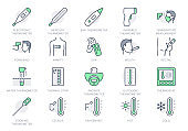 Thermometer line icons. Vector illustration include icon - infrared pyrometer, fahrenheit, contactless, thermostat outline pictogram for temperature measurment. Green Color, Editable Stroke