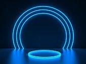 blue neon round frame