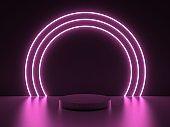pink neon round frame