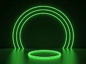 green neon round frame
