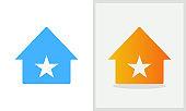 Star House logo design. Home logo with Star concept vector. Star and Home logo design