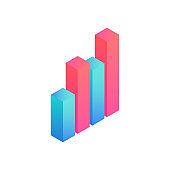 isometric 3D data graphs icon