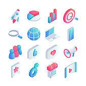 Isometric social media marketing icons set 3d