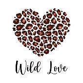 Wild Love, Leopard Heart Shape Print with slogan. Wild animal skin pattern texture, hand drawn brush stroke. Vector design element for fashion print design, tag, Valentines card, Valentines day