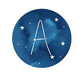 """Watercolour illustration of round shape with dark navy blue sky, stars and """"A"""" letter constellation. First letter of Latin and English alphabet. Handdrawn water color graphic drawing, cut out element."""